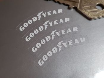 Goodyear White on Clear Curved Stickers - Set of 4 - 40mm