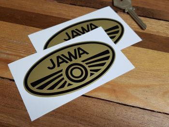 """Jawa Double Circle Oval Stickers - Black & Gold - 4"""" Pair"""