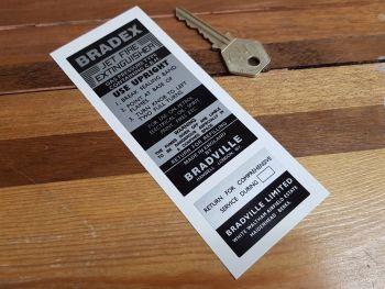 Bradex Jet Fire Extinguisher & Service Sticker Pair