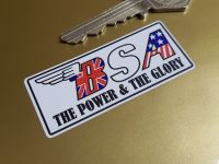 """BSA The Power & The Glory Oblong Stickers - 2.25"""" or 4"""" Pair"""
