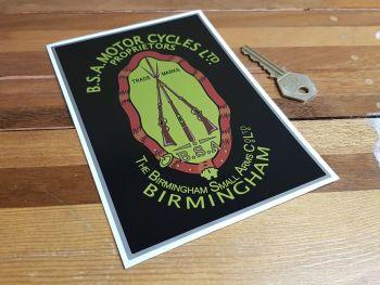 """BSA Piled Arms Oblong Sticker. 4.5""""."""