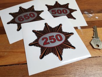 """BSA '250', '350', '500', '650' Gold Star Shaped Stickers. 3"""" or 4"""" Pair."""