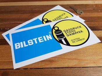 "Bilstein German Text Gasdruck Stoss Dampfer System De Carbon Stickers. 9"" Pair."