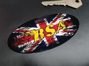 BSA Union Jack Fade To Black Oval Sticker 4""