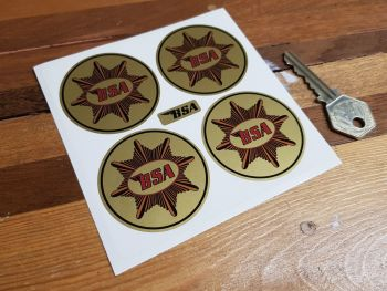 BSA Gold Star on Gold Background Circular Stickers. Set of 4. 50mm.