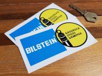 """Bilstein German Text Gasdruck Stoss Dampfer Stickers. 4"""", 7.5"""", or 9"""" Pair."""