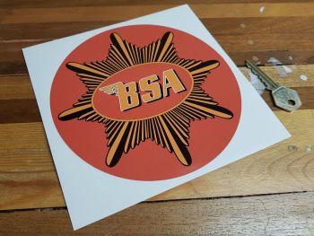 """BSA Plain Gold Star Red Circular Sticker. 6.5""""."""