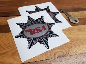 "BSA Silver Star Starburst Shaped Stickers. 4"" Pair."