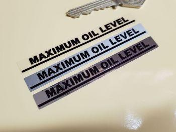 """Maximum Oil Level Indicator Stickers 3.5"""" Pair"""