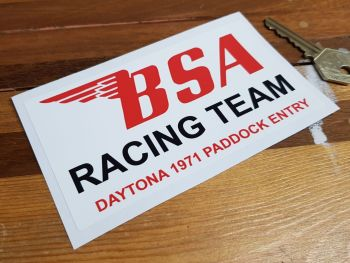 "BSA Racing Team Daytona 1971 Paddock Sticker. 5""."