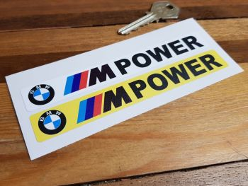"""BMW M Power Number Plate Dealer Logo Cover Stickers. 5.5"""" Pair."""