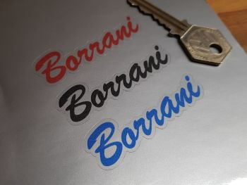 Borrani Red, Blue or Black on Clear Stickers - Set of 4 - 2.5""