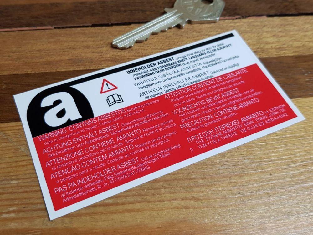 Asbestos Warning German Text Special Offer Sticker. 4