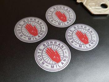 Ruote Borrani Milano Black on Silver Stickers - Set of 4 - 25mm