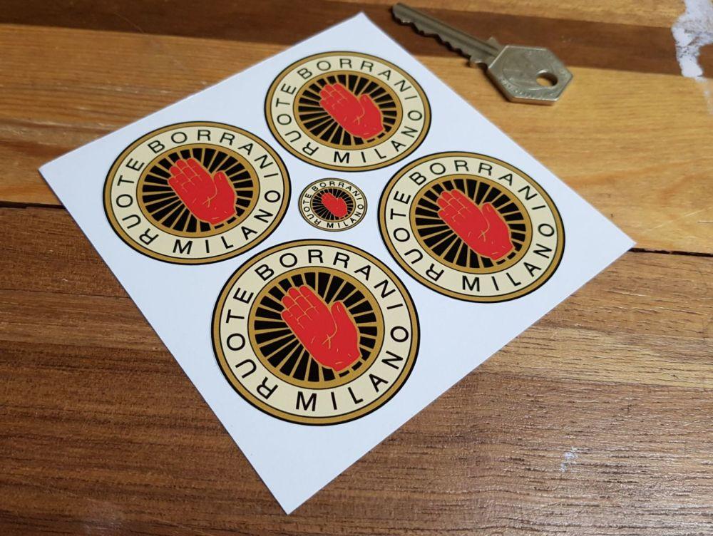Ruote Borrani Milano Black on Cream Stickers. Set of 4. 16mm, 25mm or 50mm.