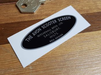 """The Avon Scooter Screen Oval Sticker. 2.5""""."""