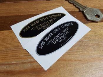 "Avon Motor Cycle Fairings Mitchenall Bros Oval Sticker -  Durrington - 2.5"""