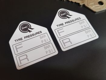 "BMC British Motor Corporation Tyre Pressure Stickers 1.75"" Pair"