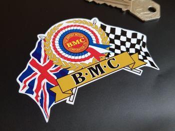 "BMC Flag & Scroll Sticker 4"""