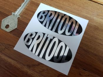 Britool Plain Text Black & Foil Oval Stickers. 70mm Pair.