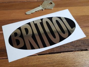 "Britool Plain Style Black & Foil Oval Sticker. 4.75""."