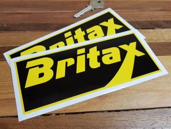 "Britax Yellow & Black Oblong Stickers. 6.5"" Pair."