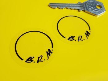 """B.R.M BRM Black & Clear Circular Stickers 1.5"""" Pair"""