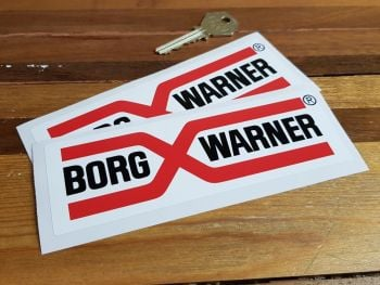 "Borg Warner Rally Style Oblong Stickers. 6"" Pair."