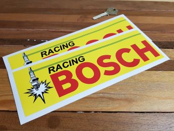 "Bosch Racing Spark Plug Yellow & Red Oblong Stickers. 9.5"" Pair."