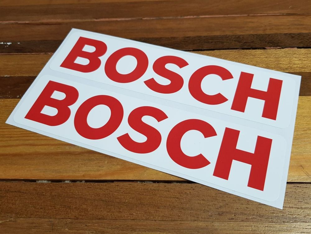 Bosch Red & White Oblong Stickers. 16