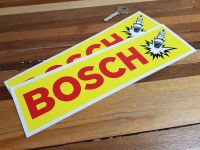 Bosch Spark Plug Yellow & Red Oblong Stickers. 10.75
