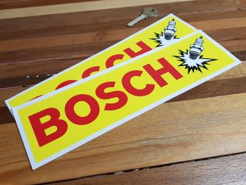 "Bosch Spark Plug Yellow & Red Oblong Stickers. 10.75"" Pair."