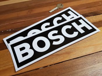 "Bosch White on Black Oblong Stickers. 9"" or 12"" Pair."