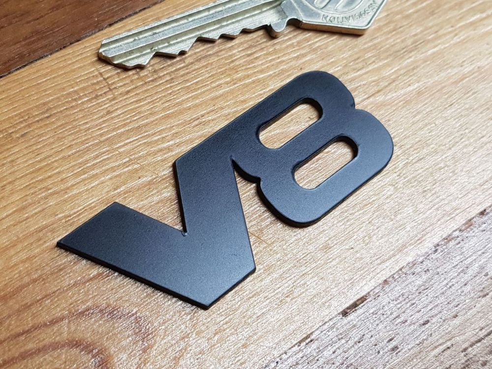 V8 Powered Laser Cut Self Adhesive Car Badge - Black - 62mm