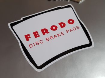 "Ferodo Disc Brake Pads Shaped Stickers - White Border - 4"" Pair"
