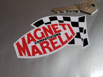 """Magneti Marelli Competizione Chequered Flag Stickers - Red Text - 4"""", 6"""", or 8"""" Pair"""