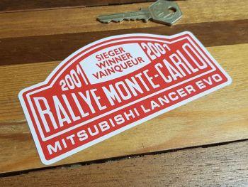 """Mitsubishi Lancer Evo 2001 Rallye Monte Carlo Winner Window Sticker 5"""""""