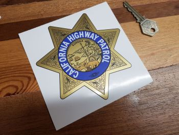"California Highway Patrol Star Shield Car Sticker - Gold Style - 4.5"""