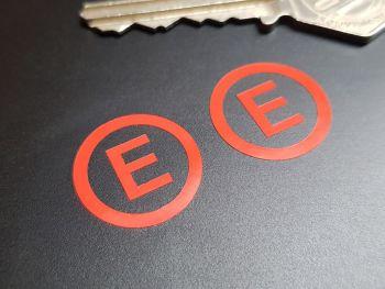 Fire Extinguisher E Race Car Stickers - Cut Red Vinyl - 20mm Pair