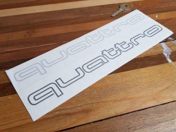 """Audi Quattro Cut Outline Stickers - 12"""" Pair"""