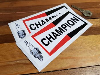 """Champion & Spark Plug Oblong Stickers. 6.25"""", 8"""" or 11"""" Pair."""