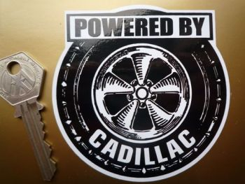 """Powered By Cadillac Wheel Style Sticker. 3.5""""."""