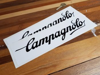 """Campagnolo Black & White Oblong Stickers. 12"""" Pair."""