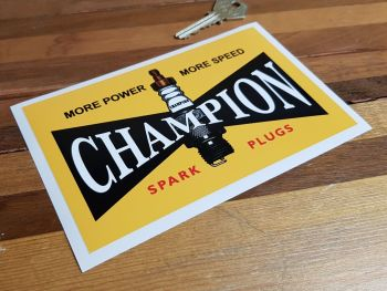 """Champion 'More Power - More Speed' Vintage Style Spark Plugs Sticker. 6.5""""."""