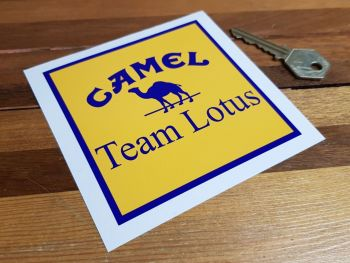 "Camel Team Lotus Square Sticker. 4""."