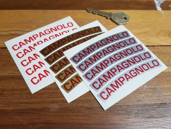 """Campagnolo Curved Wheel Stickers. 3.5"""". Set of 5."""