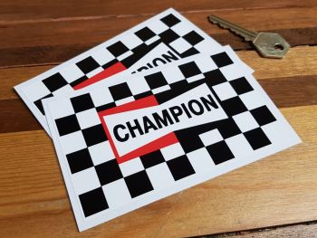 """Champion Checked Oblong Stickers. 5"""" Pair."""