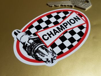 """Champion Checked Oval with Spark Plug Stickers - 4"""", 5"""" or 6"""" Pair"""