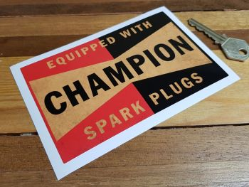 """Champion Equipped With Distressed Style Oblong Sticker. 5.5""""."""