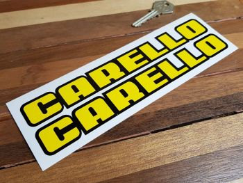 """Carello Shaped Text Black Outline Stickers. 8.25"""" Pair."""